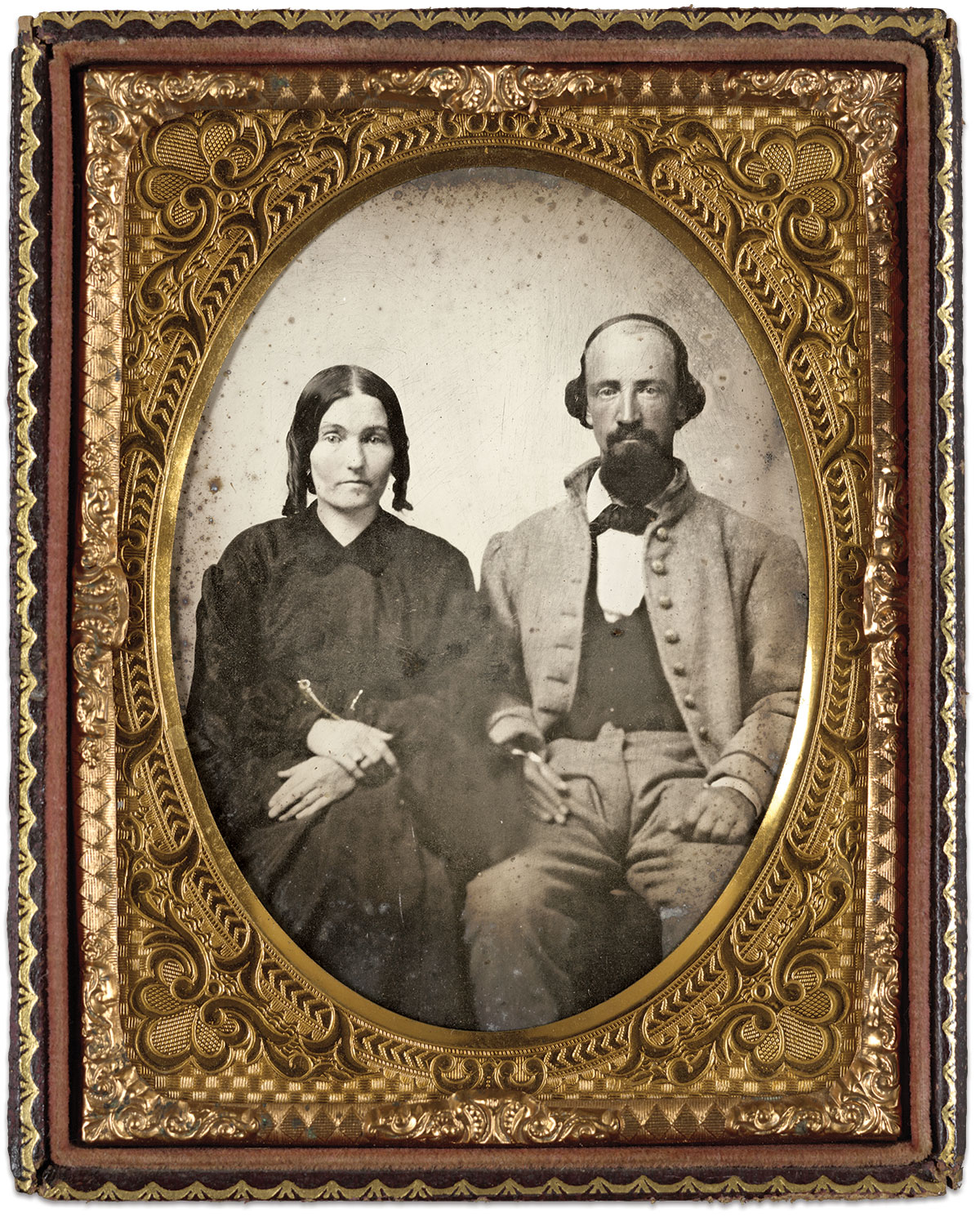 Corp. James Adril Wisenbaker, Company I, 12th Georgia Infantry and his wife, Sarah. Quarter-plate ambrotype by an anonymous photographer. The Liljenquist Family Collection at the Library of Congress.