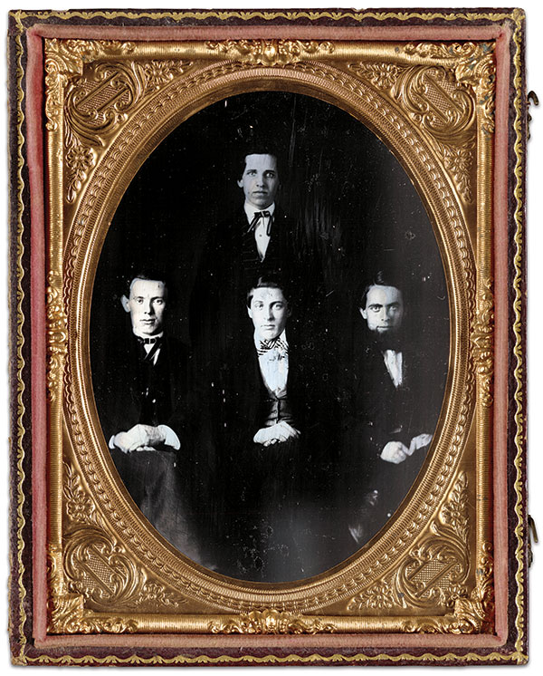 These men, formerly Pennsylvania Railroad telegraphers, were the original operators of the Service. Samuel M. Brown is standing, and seated from the left are David Strouse, David Homer Bates and Richard O'Brien. Strouse died during the war, succumbing to disease in late 1861. Quarter-plate ambrotype by an anonymous photographer. Library of Congress.