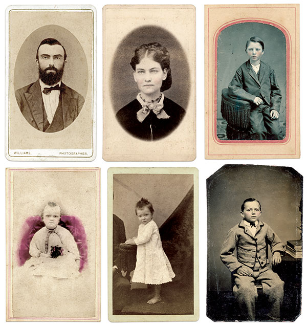 Post-war portraits, clockwise from top left: Rev. Wiggins; his first wife Ann or second wife Augusta; William Henry Kimbrough, Jr., son of his first wife Ann and the late William H. Kimbrough, 31st Georgia Infantry; and the three children of Wiggins and Ann: Sterling Pitts, Annie and Julia.