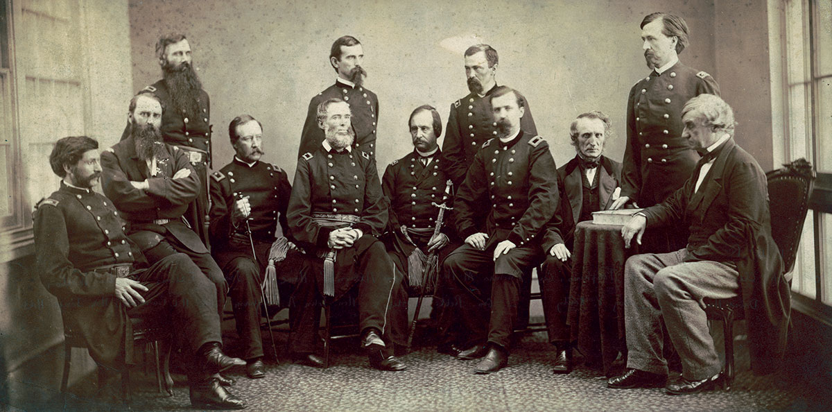Harris stands, left, with his fellow tribunal members in this albumen print by photographer Alexander Gardner. Library of Congress.