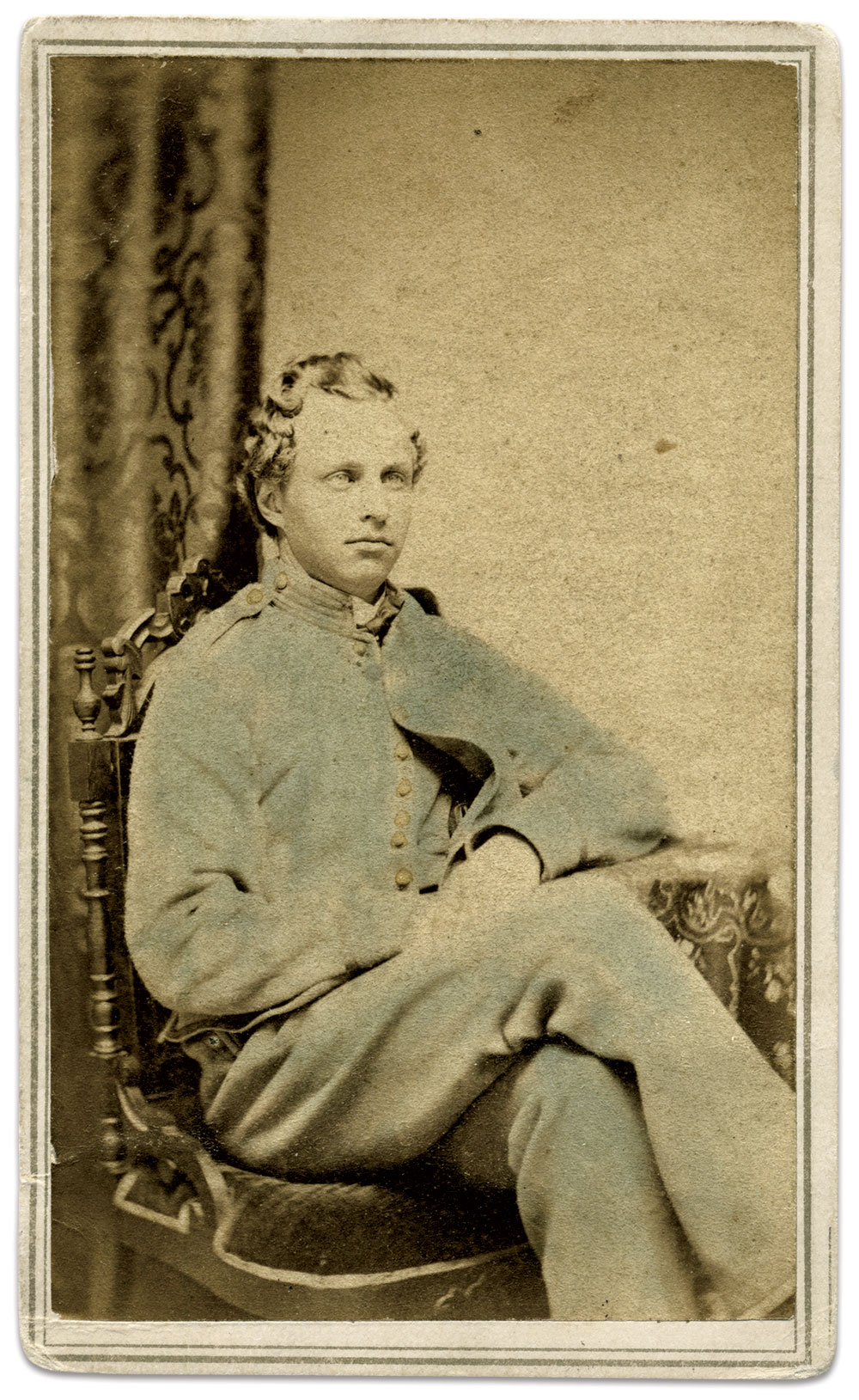 George Washington Tucker, pictured as a private in the 246th Company, 1st Battalion, Veteran Reserve Corps. Carte de visite by C. Miller of Burlington, Vt. John Gibson Collection.