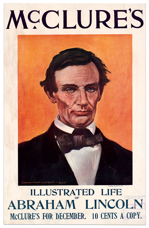 COLOR PRINTING INNOVATION: Corwin Knapp Linson's illustration of Abraham Lincoln graced the cover of the December 1895 number of McClure's magazine published by Kurtz's Coloritype Company. Library of Congress.