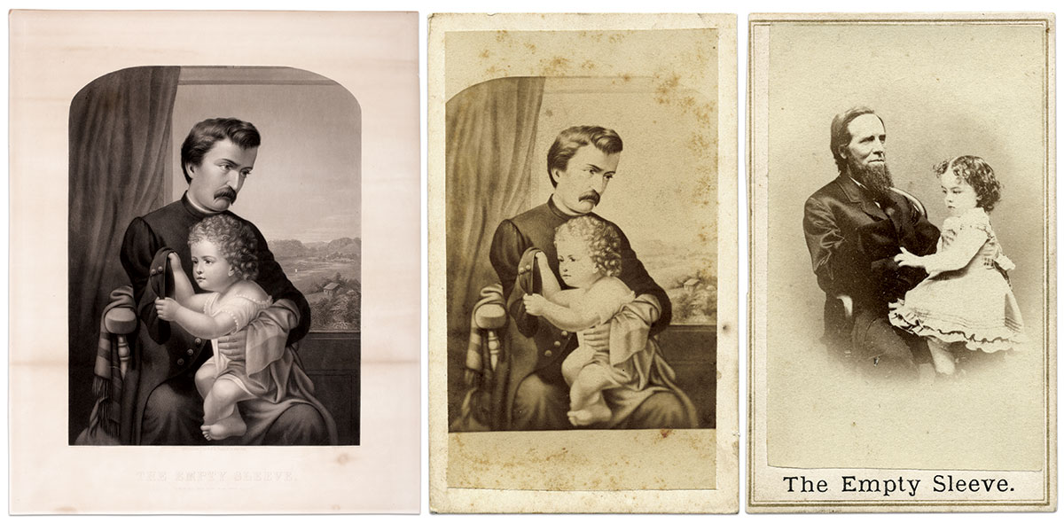 """BARKER'S POEM, VISUALIZED: Adelaide R. Sawyer's """"The Empty Sleeve,"""" left, resonated with post-war Americans who routinely encountered veterans with amputated limbs. (American Antiquarian Society.) Sawyer's artwork was sold in the carte de visite format, right. (Author's Collection.) Photographer George P. Critcherson's version, center, used real actors. The man may have been a war veteran. (Author's Collection.)"""