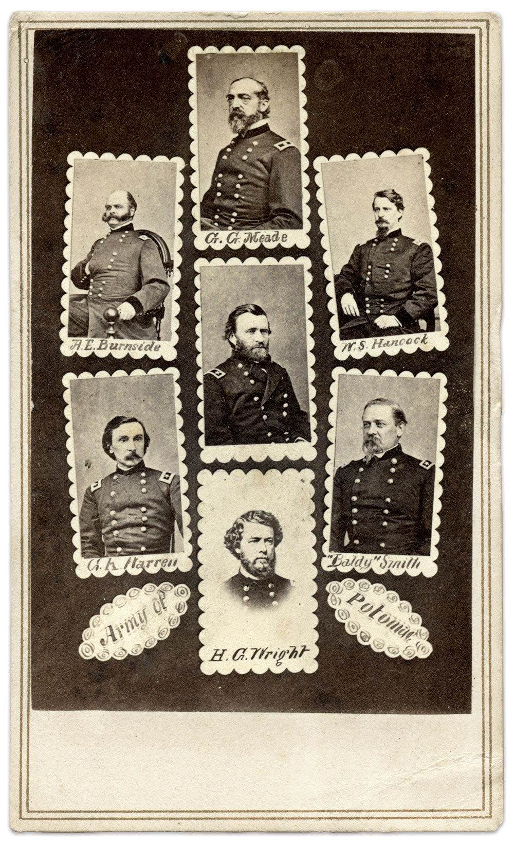 """ARMY OF THE POTOMAC: Ulysses S. Grant sits at the center of """"Army of the Potomac."""" Grant did not command this army directly—that honor belonged to the officer pictured above him, Maj. Gen. George G. Meade. But Grant's presence dates this montage to early 1864, when President Lincoln named him lieutenant general and overall commander of Union forces. Grant attached himself to Meade's army. Other clues to dating this image include Grant's rank (he is pictured wearing the two stars of a major general rather than three of a lieutenant general) and the presence of Maj. Gen. William """"Baldy"""" Smith, who was removed as a corps commander in July 1864."""