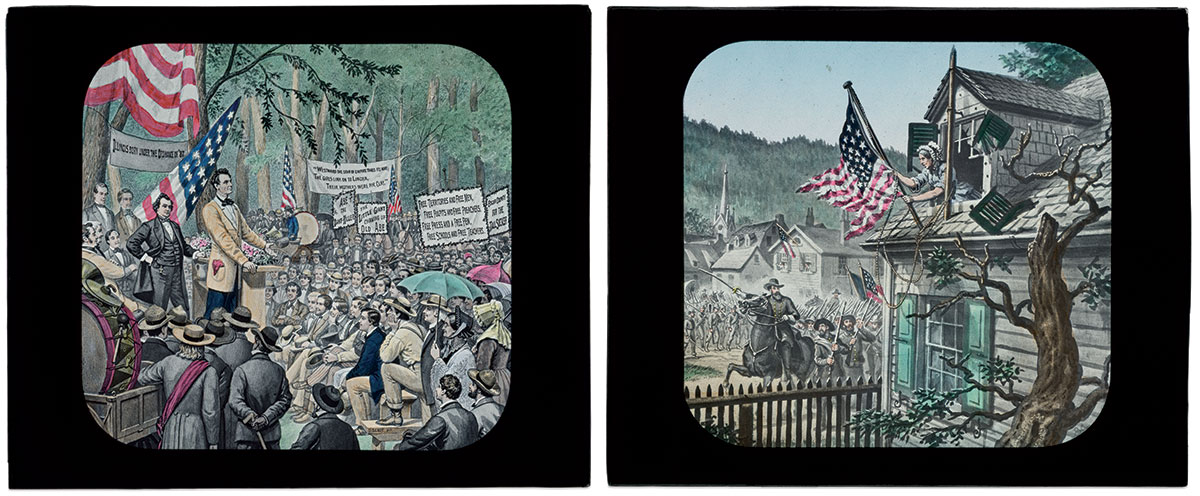 """MASTERWORKS BY BEALE: The Lincoln and Douglas debates, left, was part of his """"Life  of Lincoln"""" series. It became a commemorative postage stamp in 1958. Barbara Fritchie, right, waves the Union colors in the face of Confederate soldiers who entered Frederick, Md., on a fall day in 1862 with """"Forty flags with their silver stars, forty flags with their crimson bars,"""" according to John Greenleaf Whittier in the poem that made her a legend."""
