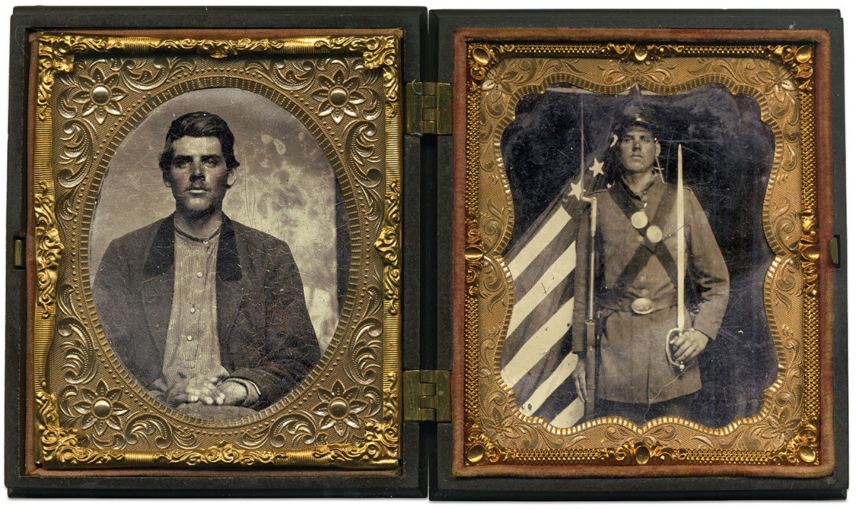 Sixth-plate tintypes by an anonymous photographer. John Gibson Collection.
