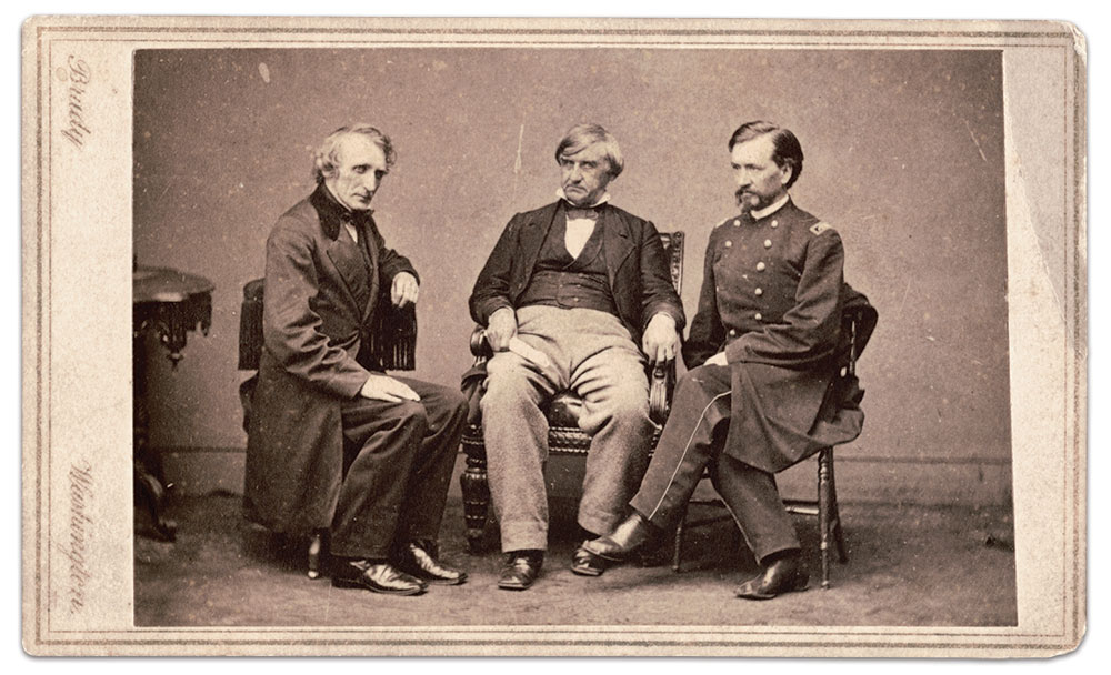Fellow Kentuckian Joseph Holt, center, brought Hewitt to Washington in 1860. Holt remained Union loyal and, as Judge Advocate General of the army, he played a key role in the Lincoln Assassination Trials. He is flanked here by fellow prosecutors John Bingham and Maj. Henry Burnett. The Liljenquist Family Collection at the Library of Congress.