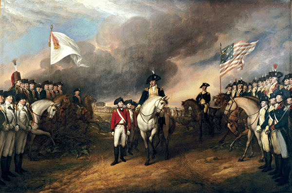 """Trumbull's """"Surrender of Lord Cornwallis"""" hangs in the Rotunda of the U.S. Capitol. Architect of the Capitol."""
