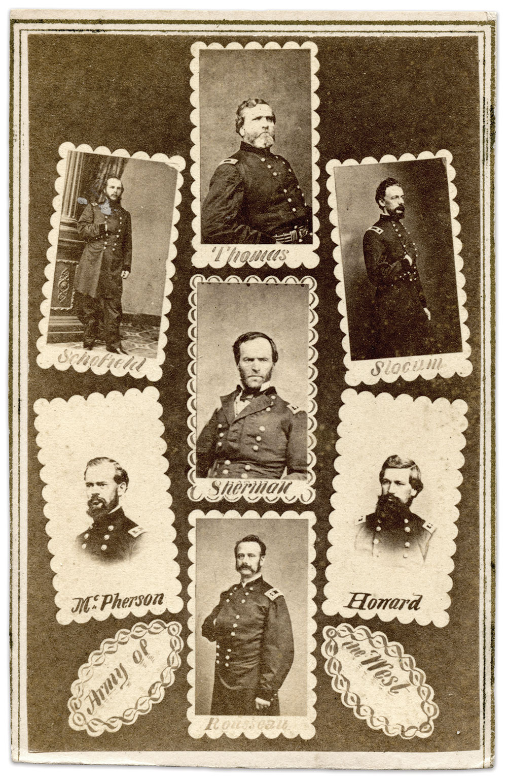 """SHERMAN: Maj. Gen. William T. Sherman and commanders in """"Army of the West,"""" left, a term used late in the war. The image dates prior to July 1864, when Maj. Gen. James B. McPherson suffered a fatal wound during the Atlanta Campaign."""