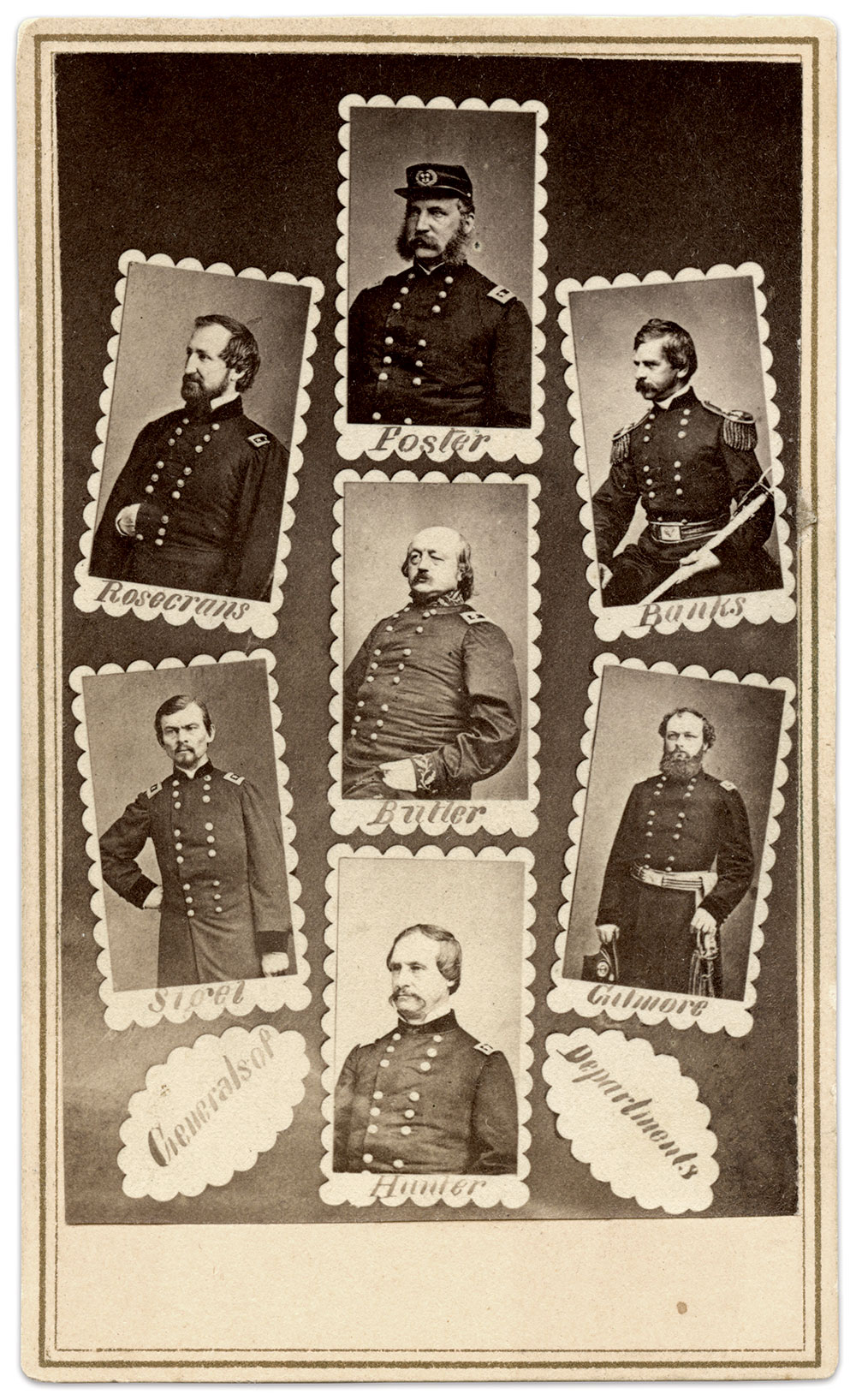 """DEPARTMENT HEADS: """"Commanders of Departments,"""" left center, pictures the generals upon whom Grant depended to win the war. At the center sits senior Gen. Benjamin F. Butler, who Grant recalled in January 1865."""