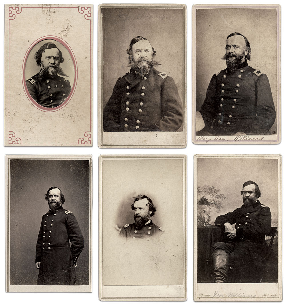 Portraits of Michigan's 'Red Star' Commander: Clockwise from top left (cartes de visite from the Steve Meadow Collection unless otherwise noted): Eighth-plate tintype in a carte de visite mount by an anonymous photographer, by Algenon S. Morse of Nashville, Tenn, by Bishop & Campbell, Army of the Cumberland, by Mathew B. Brady of New York City, by Mathew B. Brady of New York City and Washington, D.C., by Mathew B. Brady of New York City and Washington, D.C., Jeff Kowalis Collection.