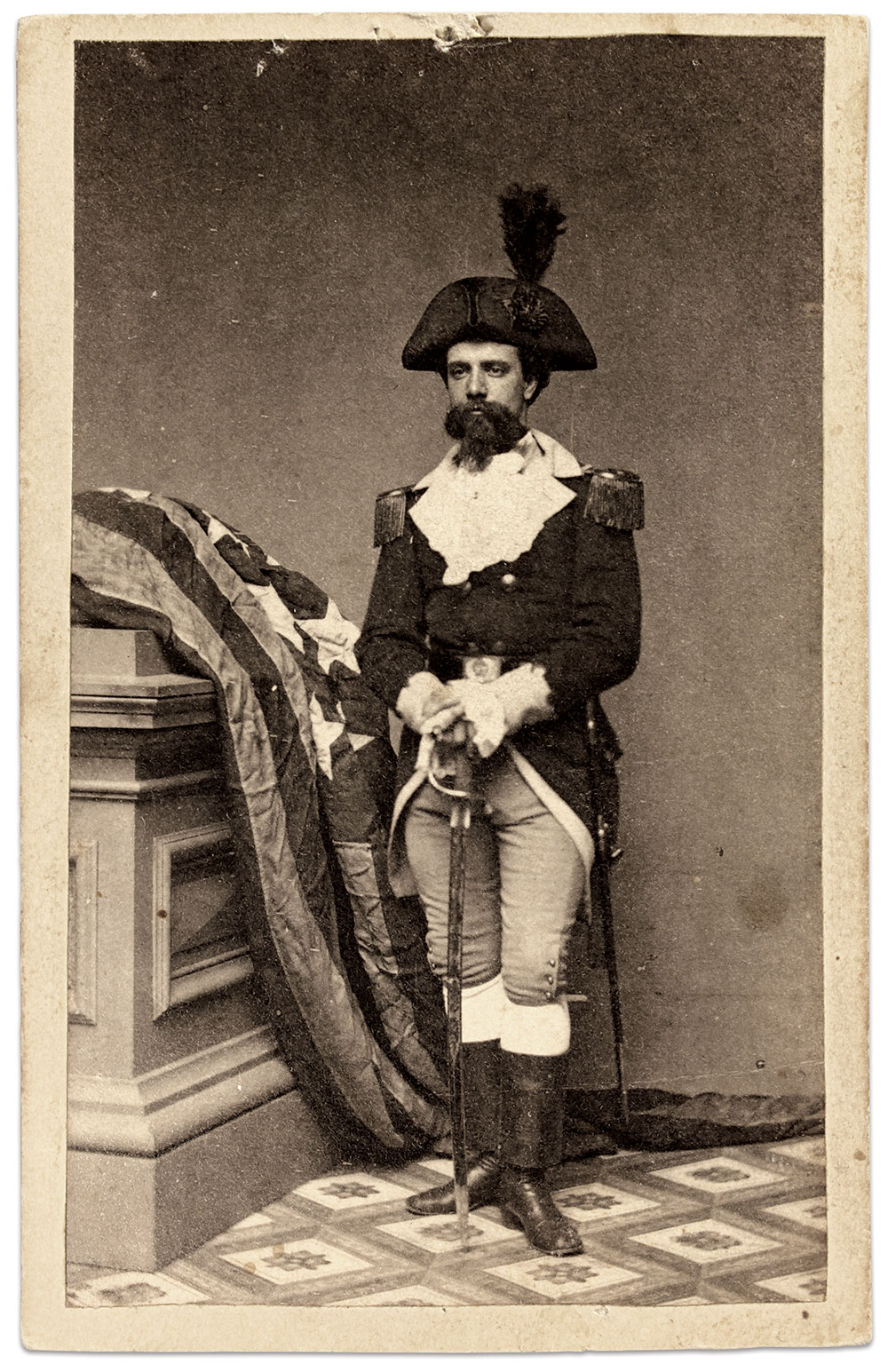 Carte de visite by Holmes' Park Gallery of New York City. Buck Zaidel Collection.