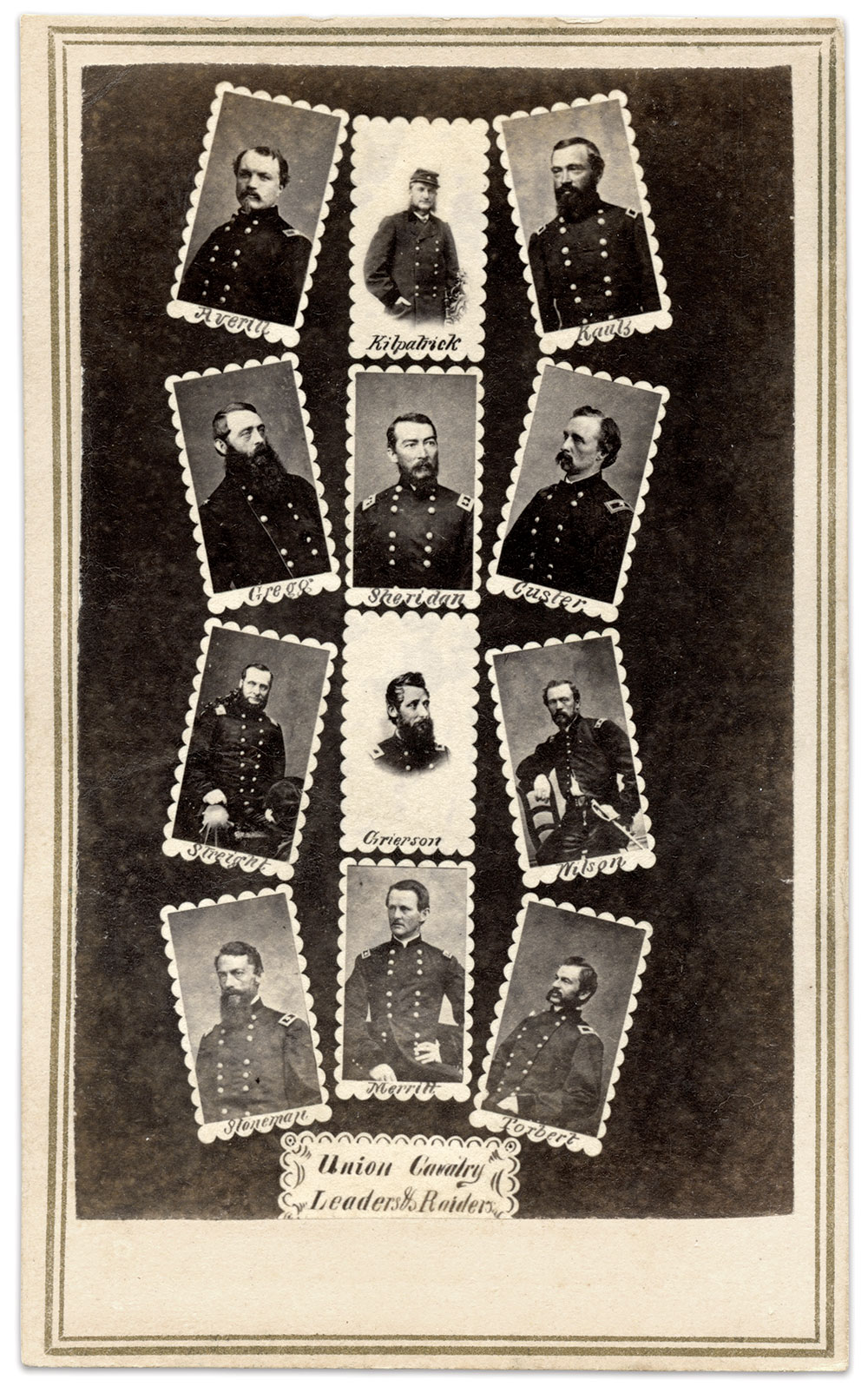 """CHARGE!: """"Union Cavalry Leaders & Raiders,"""" far left, depicts a dozen generals at various dates during the war."""