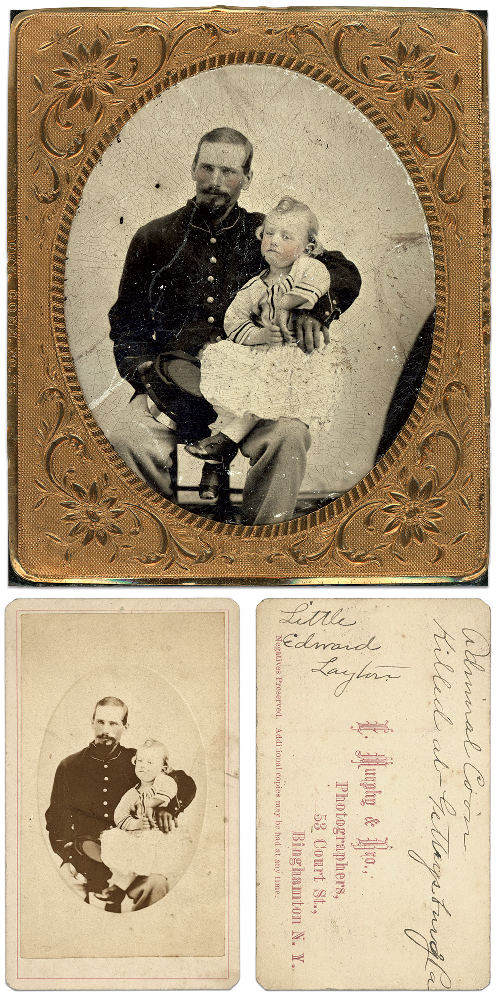 Sixth-plate tintype attributed to a photographer at Camp Susquehanna, Binghamton, N.Y. Charles Joyce Collection; Carte de visite by E. Murphy & Brothers of Binghamton, N.Y. Cara Leigh Stewart Collection.