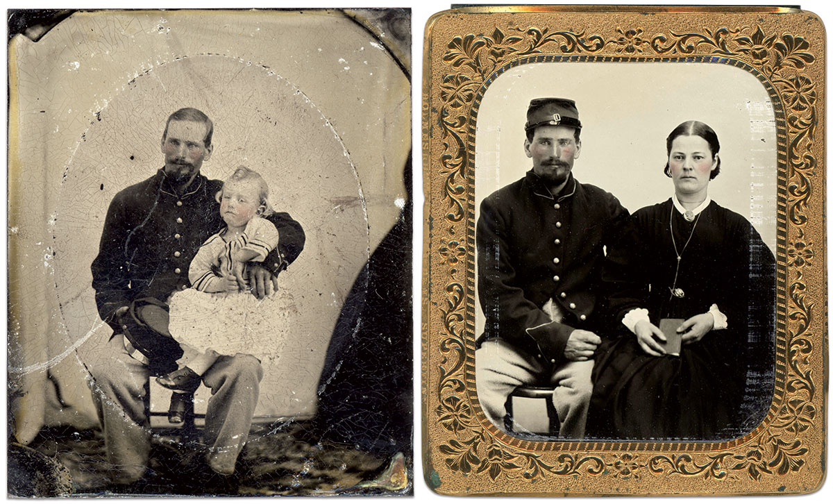 In Life and In Memorium: Admiral T. Coon holds his nephew, Eddie, in this tintype portrait. The edge of the dress of a woman is visible along the lower right side of the mat. She is likely Eddie's mother and Coon's sister, Ruth. Sixth-plate tintypes attributed to a photographer at Camp Susquehanna, Binghamton, N.Y. Charles Joyce Collection.