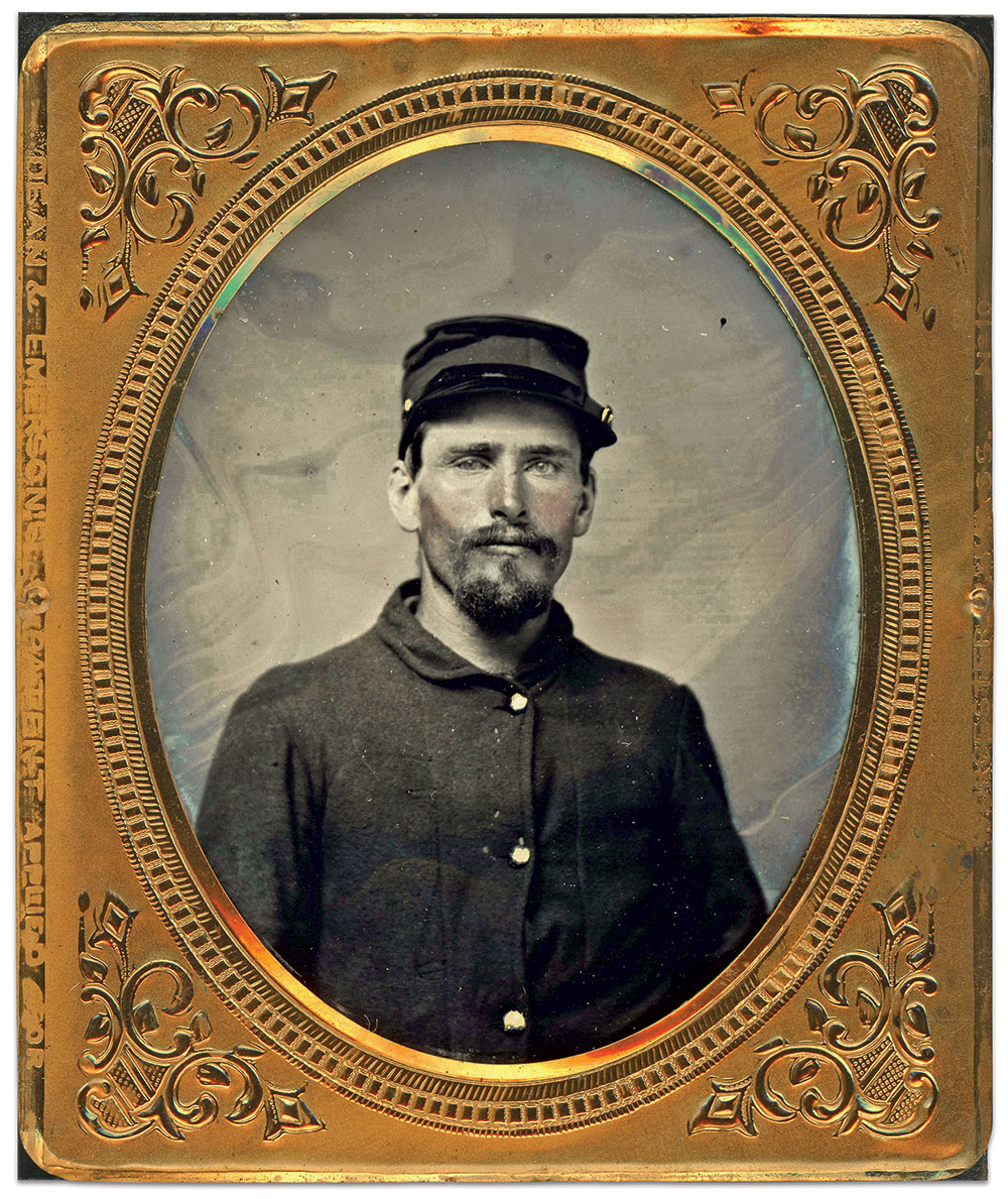Sixth-plate tintype attributed to a photographer at Camp Susquehanna, Binghamton, N.Y. Charles Joyce Collection.