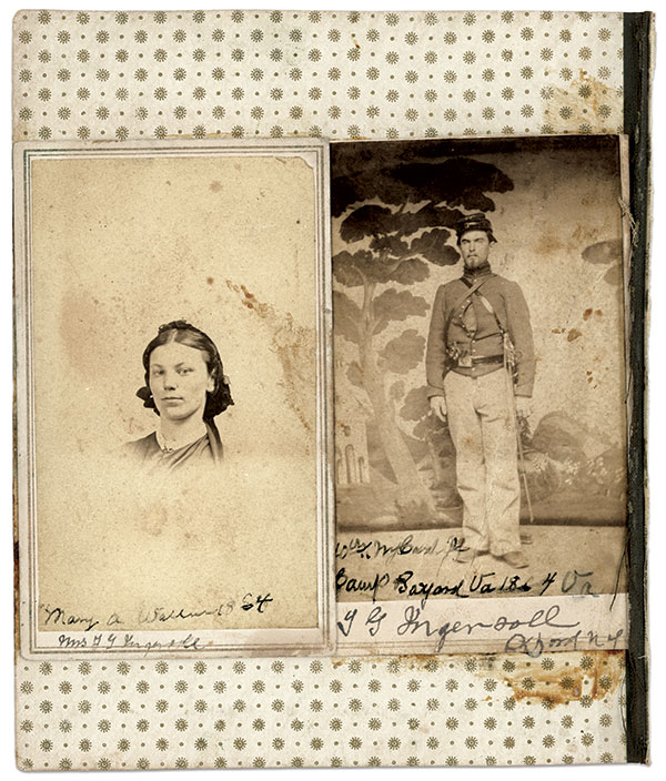 """These cartes de visite of Pvt. Theodore G. Ingersoll, Company K, 10th New York Cavalry, and his wife, Mary, prompted the investigation to find the photographer who used """"The Tree"""" backdrop. Author's Collection."""