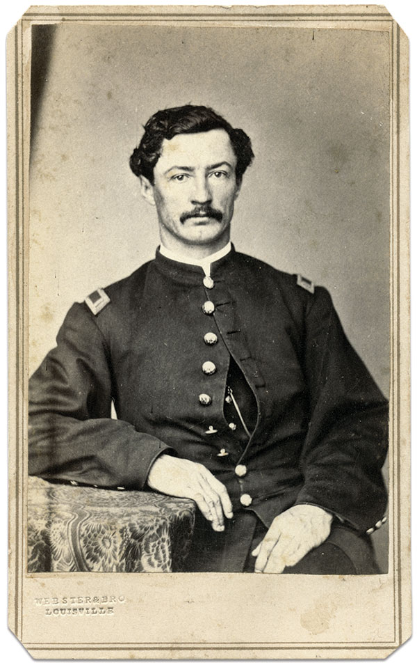 Almon C. Barnard pictured as a first lieutenant in the 12th U.S. Colored Heavy Artillery. Carte de visite by Webster and Bro. of Louisville, Ky. Dick Tanner Collection.