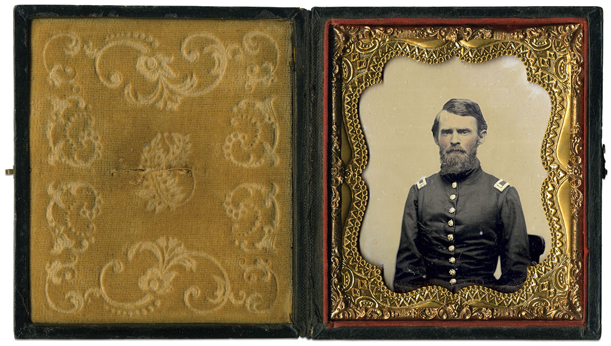 """William E. """"Tete"""" Smith pictured as a lieutenant in the Albany Guards, which became Company E of the 4th Georgia Infantry. Sixth-plate ambrotype by an anonymous photographer. Robert W. Elliott Collection."""