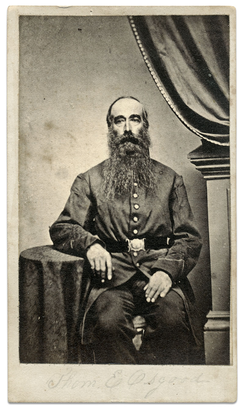 Sgt. Thomas Emerton Osgood's belief in universal salvation was frowned upon by many of his comrades in the ranks of the 12th New Hampshire Infantry. Carte de visite by J.D.Andrews of Boston, Mass. Author's collection.