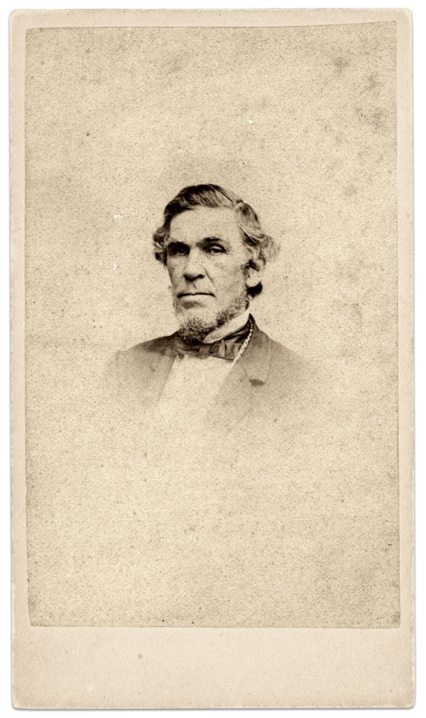 Ames is pictured in this circa 1863 carte de visite by James Wallace Black of Boston. His efforts to  assist weapons production for the Confederacy, through British manufacturing, were coming to a close.