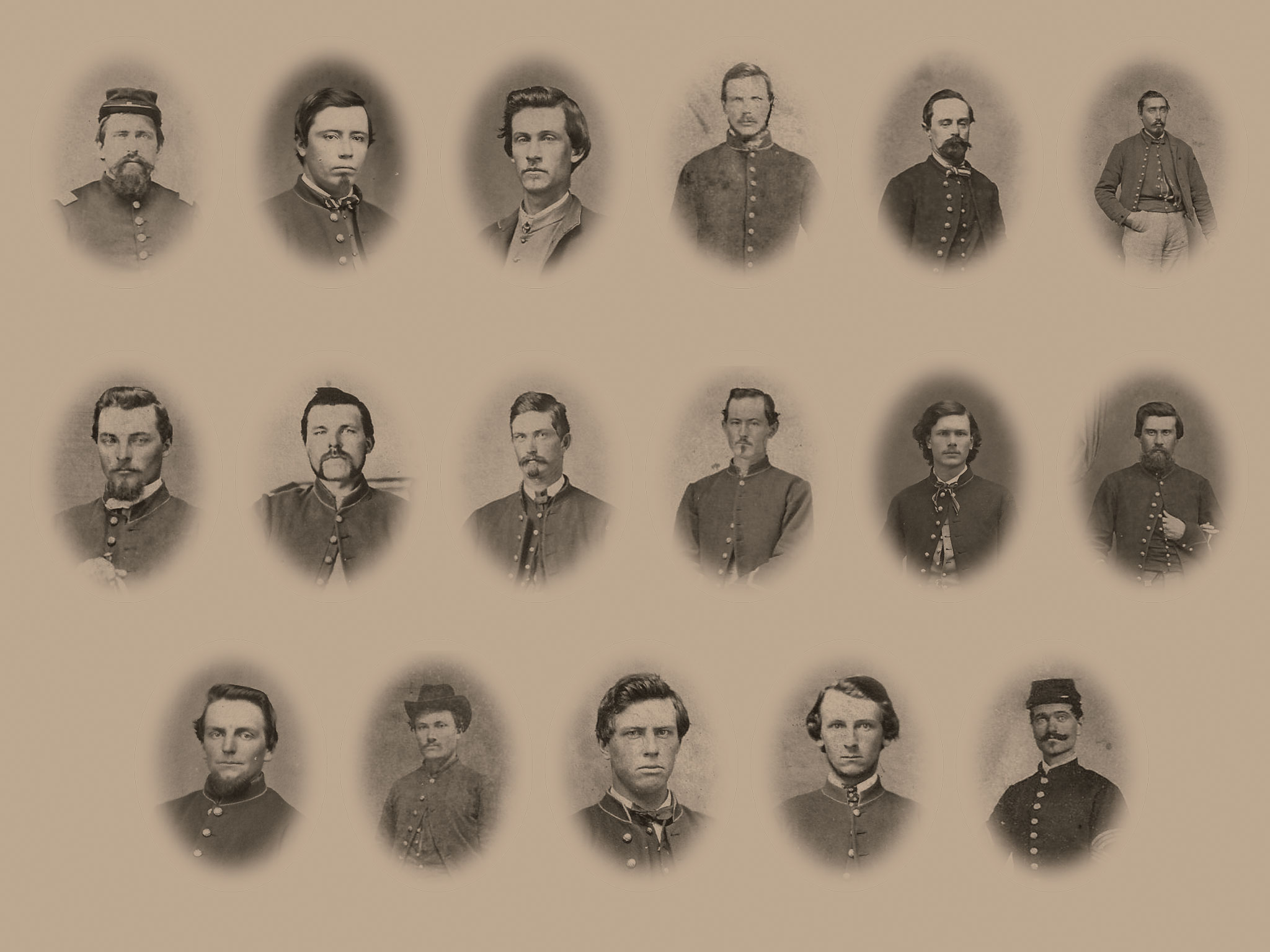 Top row, from left:Nelson Gill, Walter T. Hall, Charles E. Shinn, Edward H. Ingraham, William Mayo andCharles Andrews. Middlerow: Luther J. Clark, Frederick Holtzkampf, George Fetzler, Laurence Jacobson, Charles Hubbard andMartin Stark. Bottom row:Wallace Johnson, Harrison W. Ellis, Lucius Rew, Charles H. Keys and Bradford Wakeman.