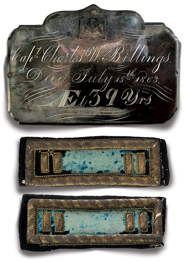 Billings' coffin plate and shoulder straps. Author's collection.