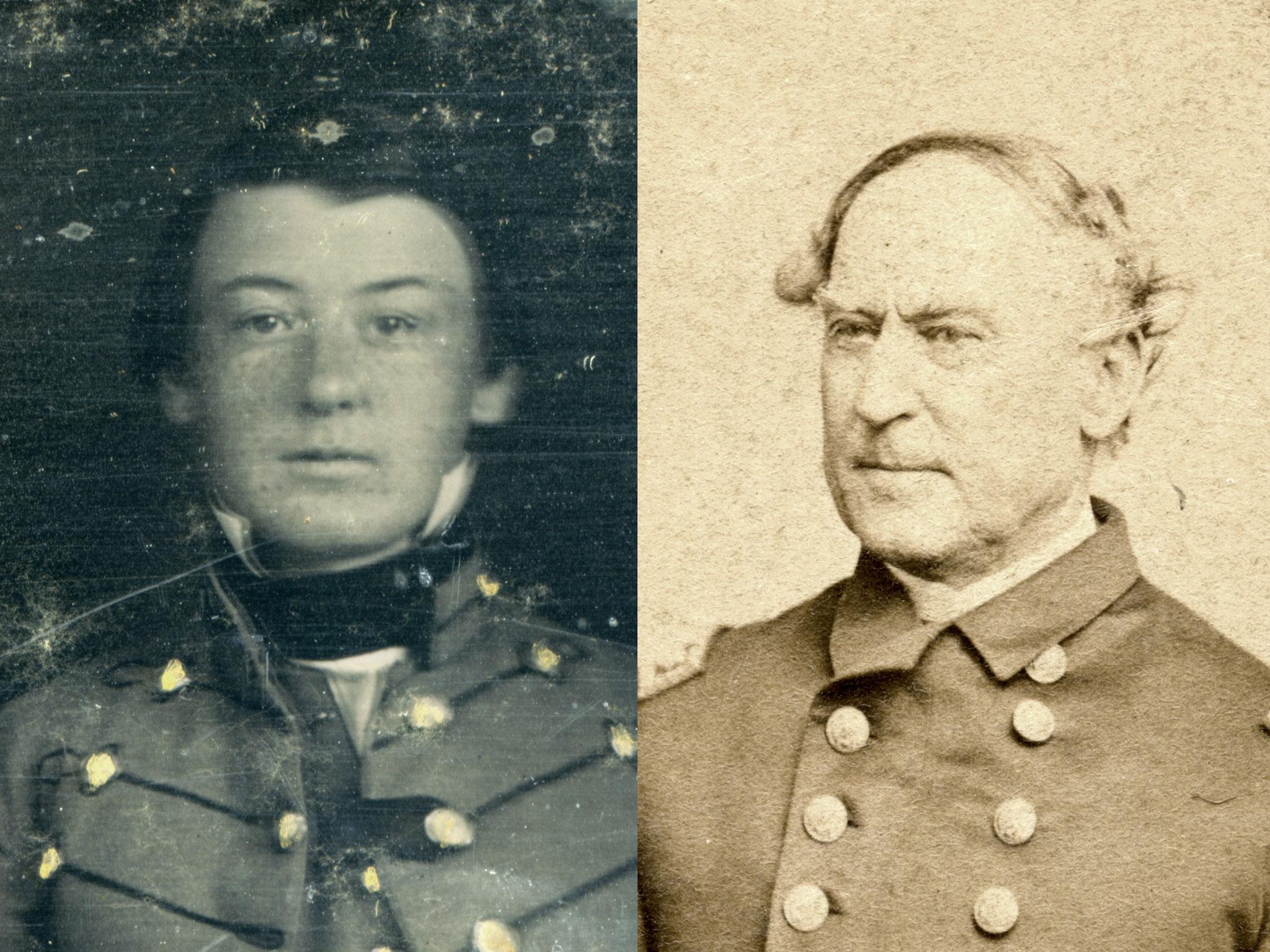 Details from the VMI daguerreotype, left, and a carte de visite of Adm. David Farragut.