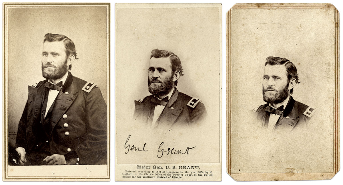 """A carte of Grant credited to Boelke & Benecke of St. Louis, Mo., and two vignettes of the same view. One was published by J. Carbutt with an 1864 copyright. The other has a backmark of Baldwin & Joslyn, Photographers of the Army of the West. The Boelke view includes a minute signature in just above Grant's right wrist. It appears to read: """"Emile L. ---rkinger 1863."""" The author could not locate any photographer with this partial name."""