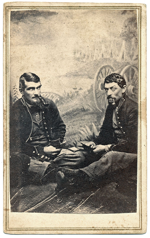 CANNON AND CAMP.This canvas appears in images by Enoch Long; one of the men pictured here is Charles M. Lindsey, who served in Company A of the 14th Illinois Cavalry. Carte de visite. Mike Medhurst collection.