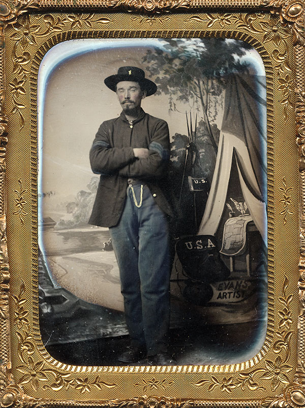 EVANS, ARTIST.Stephen Evans, a photographer who described himself an artist, used this canvas that closely resembles Long's backdrop.Quarter-plate tintype. Mike Medhurst collection.