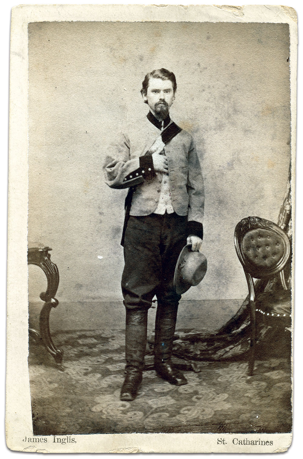 First Sgt. Frederick Beall, Company A, 10th Mississippi Cavalry. Carte de visite by James Inglis of St. Catherines, Ontario. The late William A. Turner Collection.