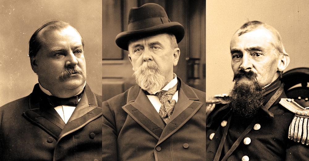 President Cleveland, Navy Secretary Herbert and Rear Adm. Meade. Library of Congress.
