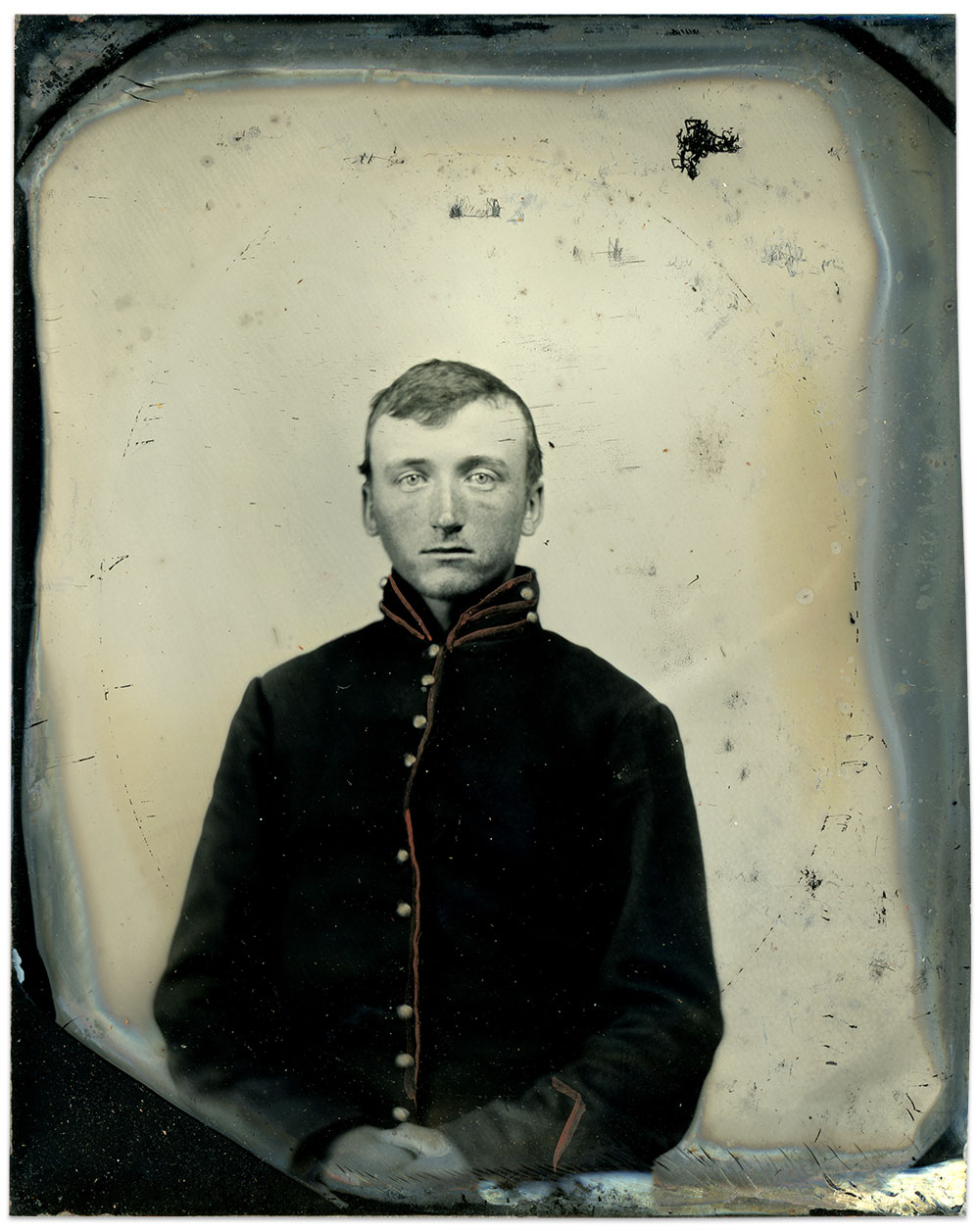 Billings about the time of his enlistment. Sixth-plate tintype by an anonymous photographer. Author's Collection.
