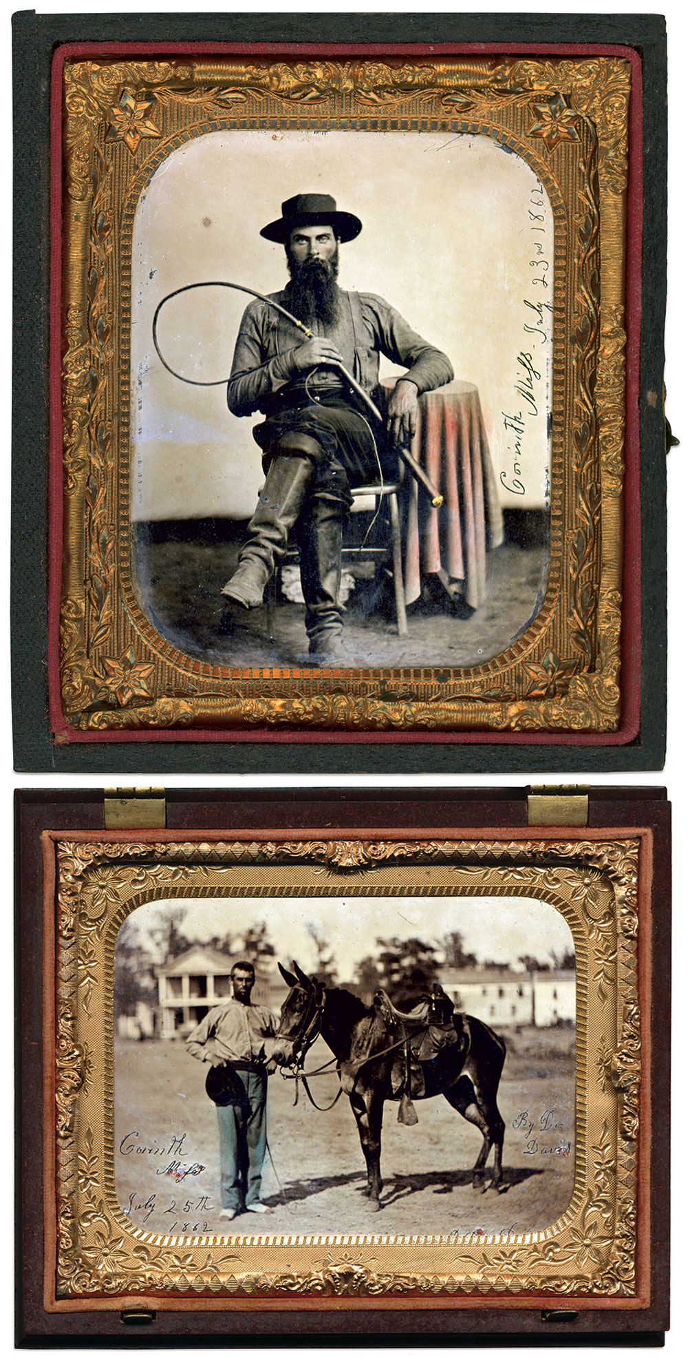 Top: Sixth-plate tintype by Davis of Corinth, Miss.Brad Burch Collection. Bottom: Quarter-plate tintype by Davis of Corinth, Miss. Rick Brown Collection.