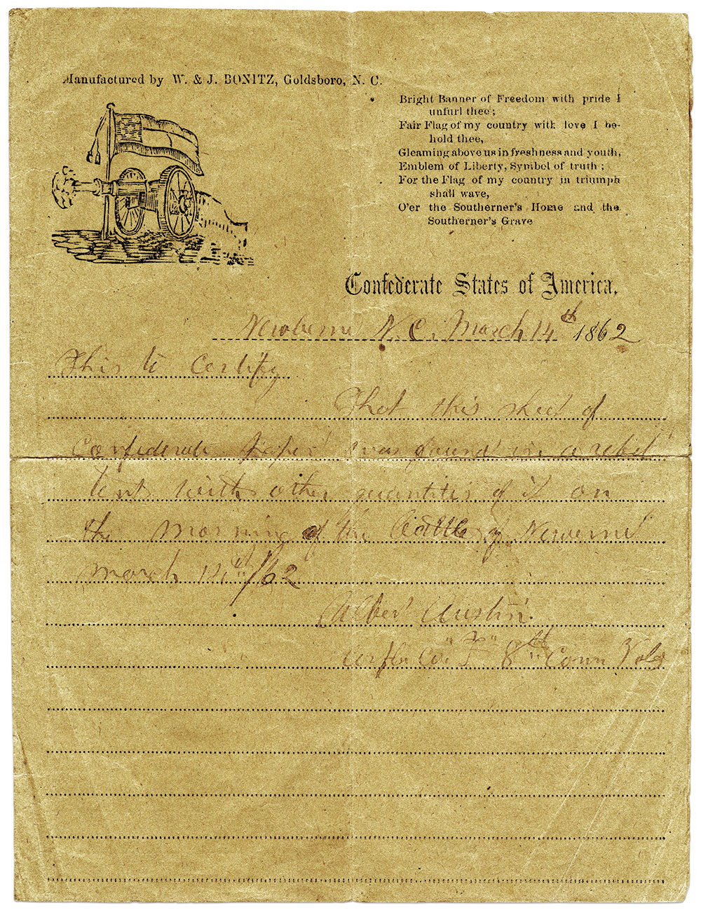 Austin's captured Confederate stationary printed by W. & J. Bonitz of Goldsboro, N.C. Most of the Bonitz covers and letter sheets were produced on poor quality brown paper, which would appear in stark contrast to better quality paper produced by Northern paper mills and some early war Southern mills. Ron Field Collection.