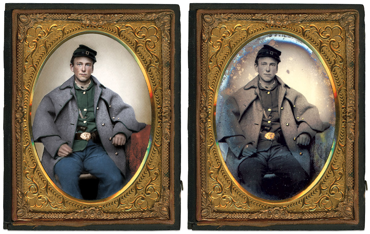 AN EARNEST SHARPSHOOTER sits with his baggy felt overcoat trimmed with green binding and rubber buttons painted gold for a more martial appearance. Quarter-plate tintype by an anonymous photographer. Author's collection. Colorized version by Okkama Colorizations at The Psychogenealogist.