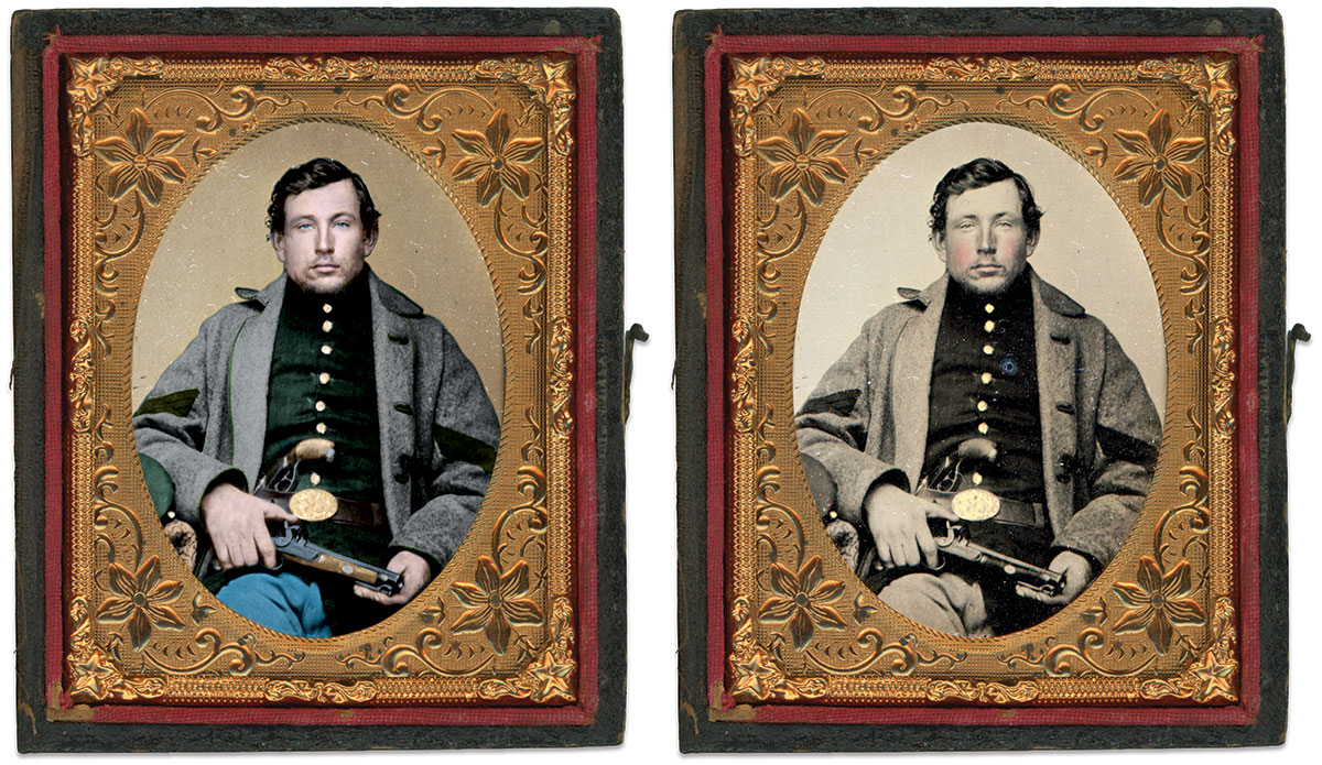 AN UNIDENTIFIED SERGEANT displays civilian dueling pistols. His rank chevrons are sewn to the sleeves of his seamless gray felt overcoat. The cape has been removed. Ninth-plate ambrotype by D.O. Furnald of Manchester, N.H. Author's collection. Colorized version by Okkama Colorizations at The Psychogenealogist.