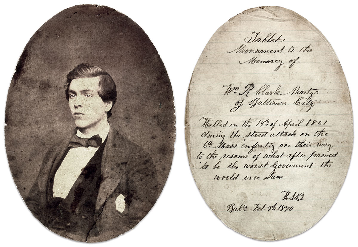 """""""MARTYR OF BALTIMORE CITY"""": Baltimore firefighter William R. Clark, according to the inscription on the back of his portrait, joined rioters to stop the 6th Massachusetts Infantry from reinforcing the federal government—""""the worst Government the world ever saw."""" Albumen print by an unidentified photographer. Collection of Deb and Gil Barrett."""