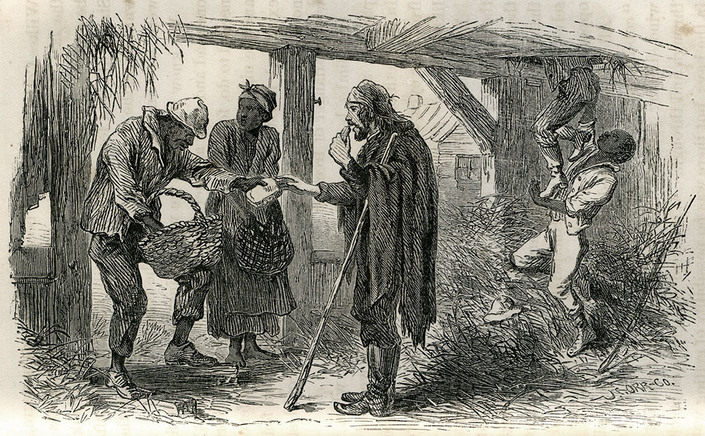 """Slaves who assisted Browne and fellow New York Tribune journalist Albert D. Richardson are pictured in this engraving, titled, """"The Escaped Correspondents Enjoying the Negro's Hospitality."""" It appeared in Browne's 1865 war memoirs, Four Years in Secessia."""