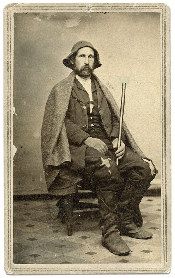 Dressed as he appeared at the end of his harrowing journey to freedom, Browne wears a well-worn hat given to him by a slave to replace one he lost, tattered clothes and coarse boots. A period ink inscription on the back of the mount of this carte de visite notes that Browne sat for this portrait soon after he arrived inside Union lines on January 14, 1865. Carte de visite by Dennis & Fry's Photographic Gallery of Cincinnati, Ohio. Author's collection.