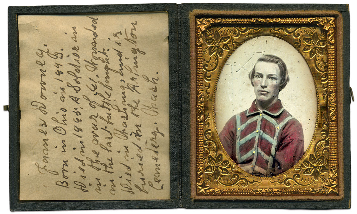James Downey, pictured in a shirt of unknown origins. The case in which his portrait is enclosed includes the note pictured below. Ninth-plate ambrotype by an anonymous photographer. Jim Quinlan Collection.