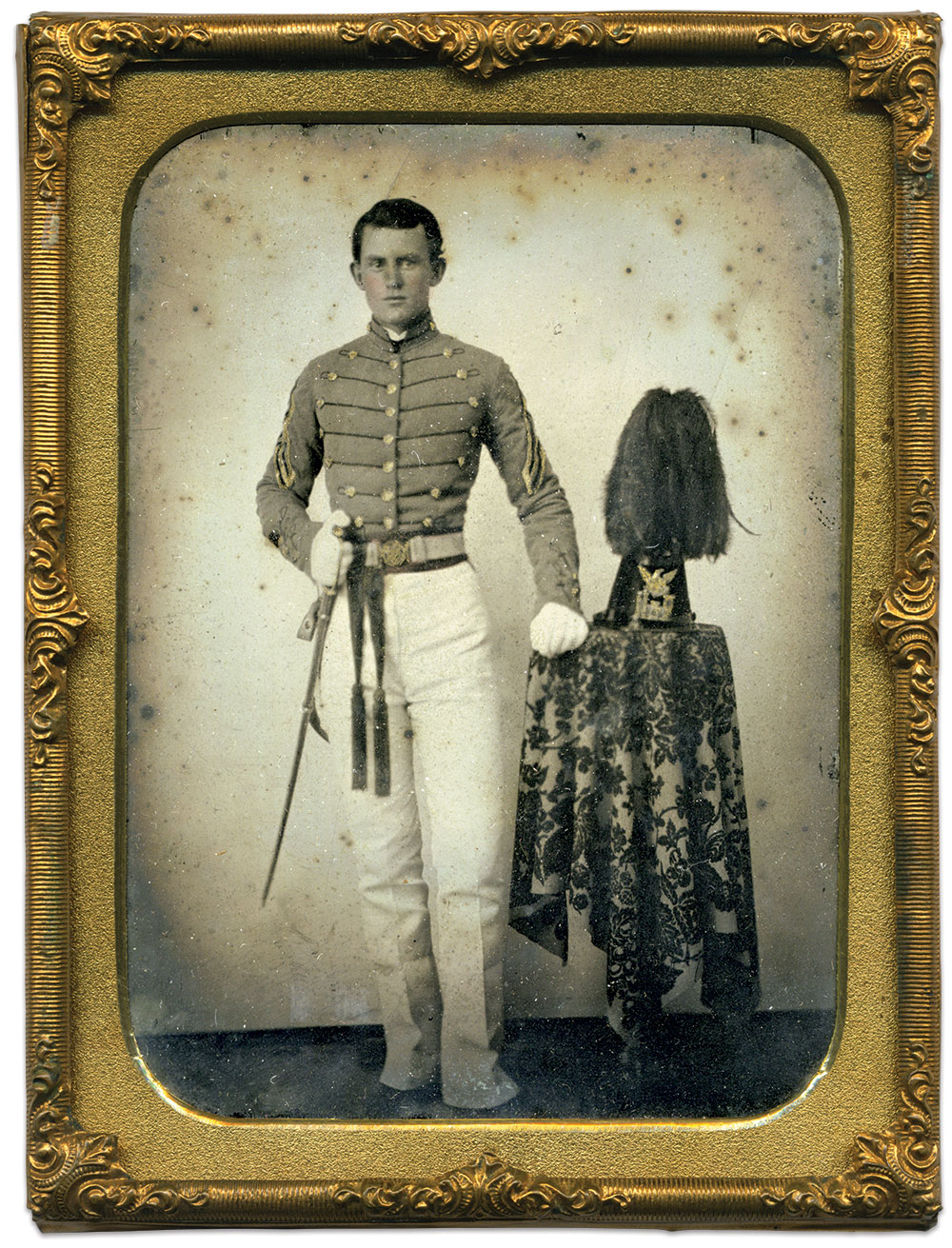 Burgwyn stands in his dress cadet uniform.Quarter-plate ambrotype from the Dave Batalo Collection.