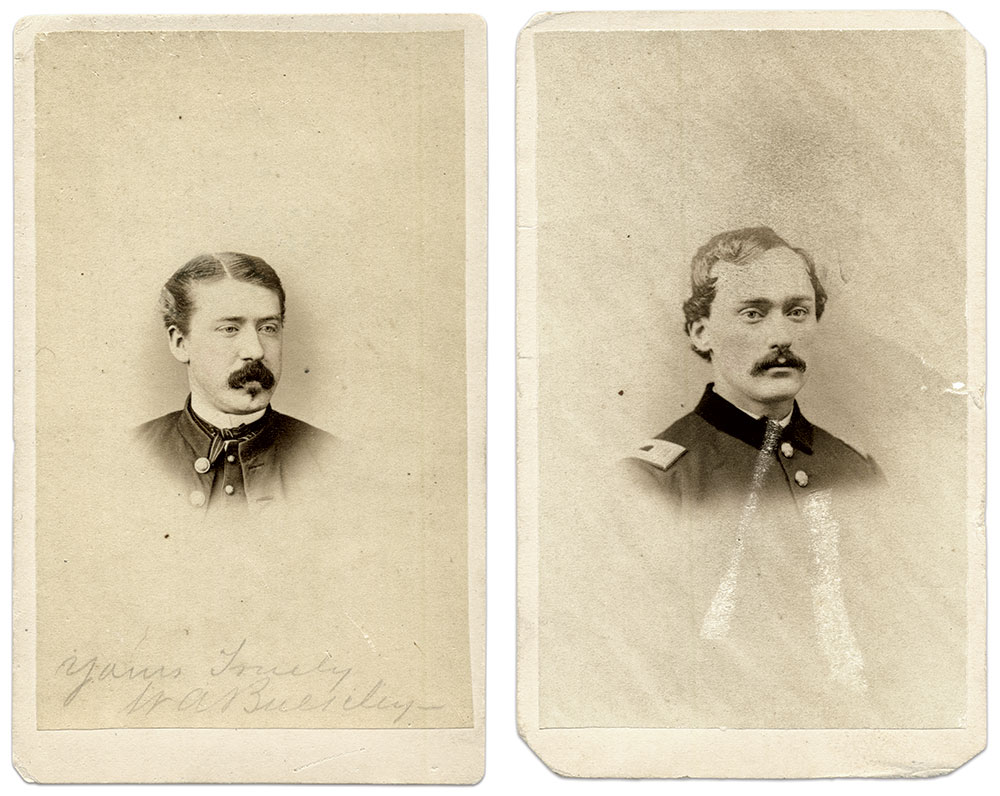 William A. Bulkley, left, served as a regular army hospital steward at Satterlee U.S.A. General Hospital in west Philadelphia. In the Satterlee Hospital Register, Vol. 2, No. 14, dated Nov. 28, 1863, Buckley is listed as hospital steward, but in the position of post master. Eight other hospital stewards are listed—all in other non-medical positions. Carte de visite by J.R. Laughlin of Philadelphia, Pa. Author's Collection. William Moore Smith, right, started his military service as a hospital steward with Company E of the 59th Pennsylvania Infantry in 1861. He went on to become captain of Company E, 71st Pennsylvania Infantry in August 1863—only a month after the regiment fought in the Bloody Angle and helped repel Pickett's Charge at Gettysburg. Smith mustered out of the army in 1864. Carte de visite by J.R. Laughlin of Philadelphia, Pa. Author's Collection.