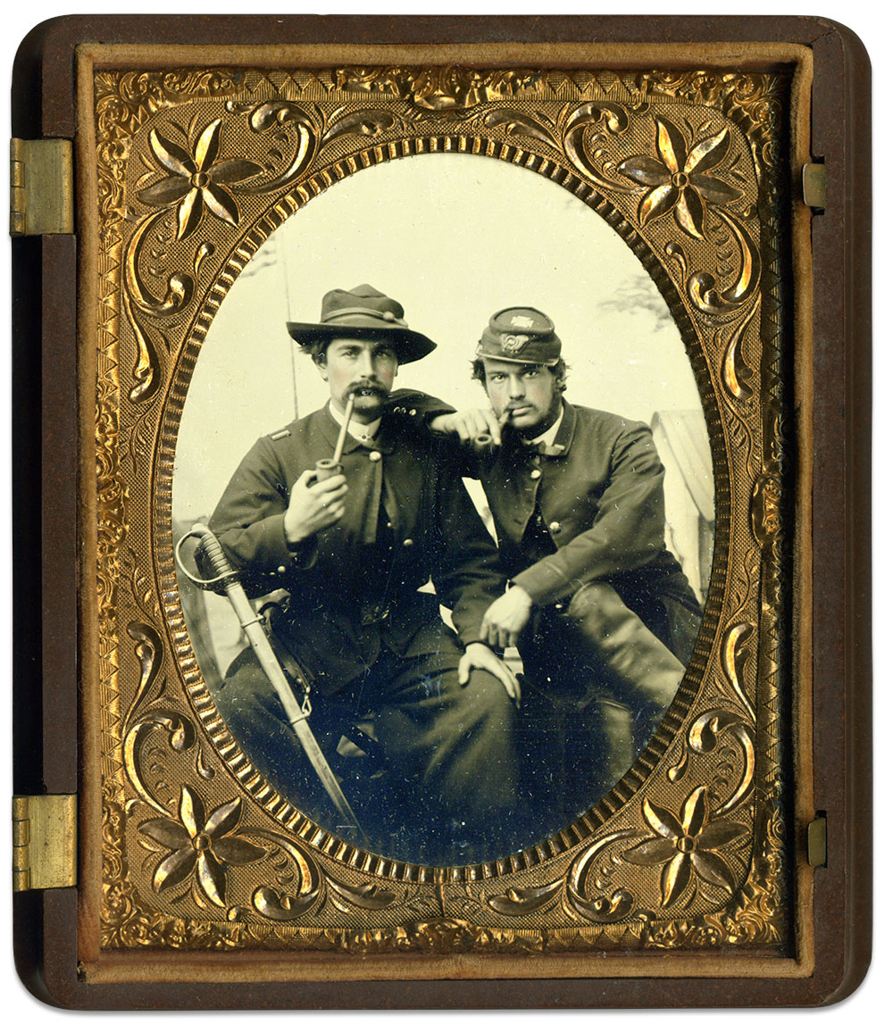 Capt. Henry Belding Hoyt, left, and Lt. Joseph H. Pool. Quarter-plate tintype by an anonymous photographer. Kevin Canberg collection.