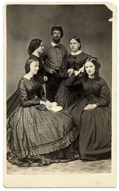 Richard C. Parker poses with Mary J. Franks, Anna M. Kitz, Kate Parker and Emily J. Millikin on Aug. 13, 1863. The soldier may be Capt. Richard Cloyd Parker (1836-1903) of the 12th U.S. Infantry. Carte de visite by C.C. Burkholder of Lewistown, Pa. Rick Carlile collection.