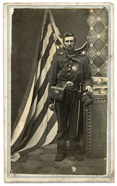 A Union private early in the war, possibly from New York. Carte de visite by an anonymous photographer. Author's collection.