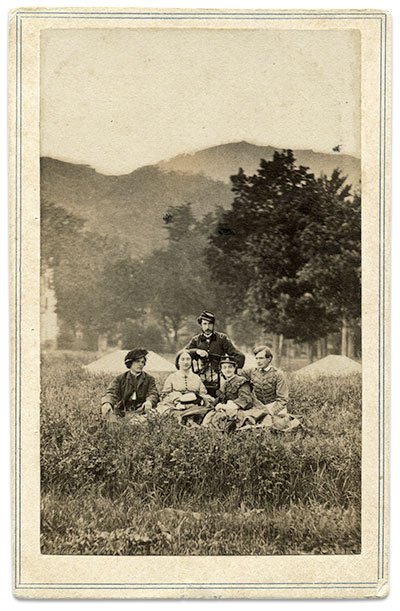 West Point cadet Thomas Ward and friends, about 1863. Carte de visite by Charles D. Fredricks of New York City. Author's collection.