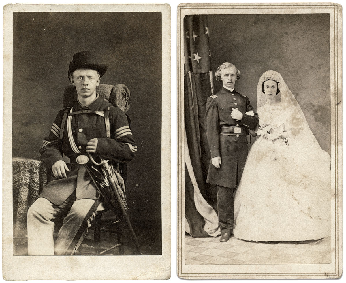 Cartes de visite by an anonymous photographer, top right, and Hoag & Quick of Cincinnati, Ohio. Rick Carlile Collection.