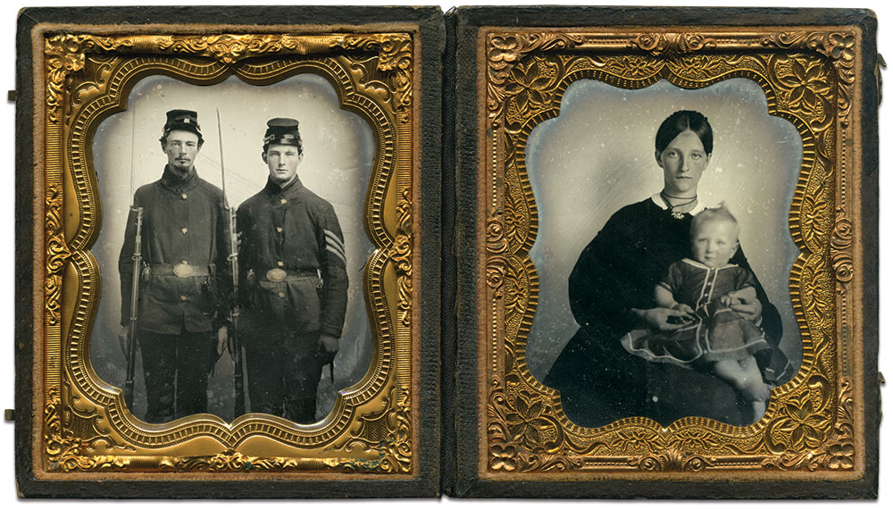 Sixth-plate ruby ambrotypes by an anonymous photographer. Charles Darden collection.